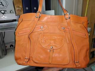 Joan & David Bag in Orange Cowhide