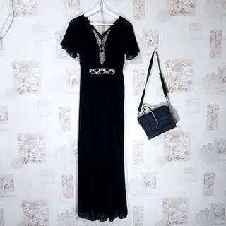 Butik Boutiques Black Long Dress / Gaun Pesta Hitam / Pakaian Wanita Perempuan Muslim - Woman Clothes Clothing Brand