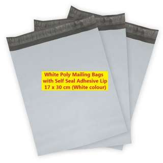 White Poly Mailing Bags with Self Seal Adhesive Lip 17 x 30 cm (Matt White colour)