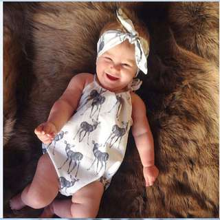 🚚 ✔️STOCK - 2pc DEER ANIMAL & HEADBAND NEWBORN BABY TODDLER GIRL ROMPER ONESIE KIDS CHILDREN CLOTHING