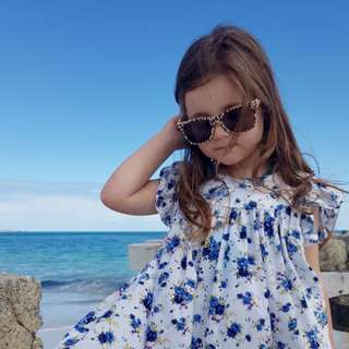 🚚 ✔️STOCK - BLUE FLORAL GARDEN LONG RUFFLED BABY TODDLER GIRL CASUAL SUN FLARE DRESS KIDS CHILDREN CLOTHING