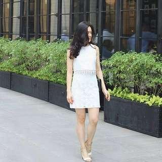 Topshop white lace crochet dress