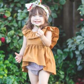 🚚 ✔️STOCK - LAYERED BROWN AYMMETRICAL BABY TODDLER GIRL BLOUSE TOP KIDS CHILDREN CLOTHING