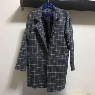 Grey Checkered Long Blazer/Outerwear