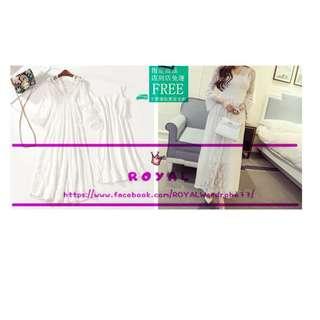 韓版白色兩件式蕾絲洋裝/海灘洋裝 A8454