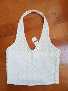 BNWT Garage White Crochet Halter Top