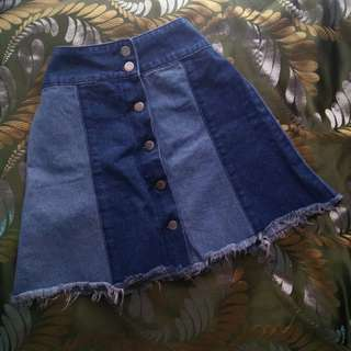 High Waisted Denim Skirt (with buttons)