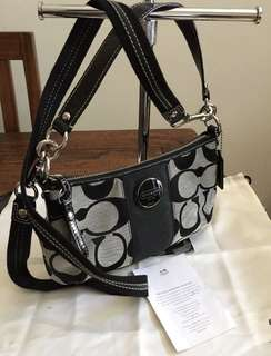 Coach Demi Crossbody Bag Black & Silver As New