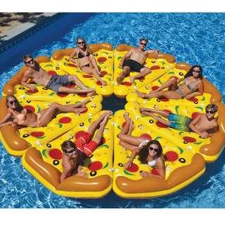 🚚 【現貨不用等】披薩造型水上充氣浮排玩具 水上聚會日光浴party 浮床水床沙灘墊 pizza泳圈 游泳沙灘海邊渡假泳池