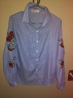🌹 rose embroidered striped shirt