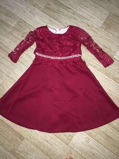 Dress lace maroon design 2018. Baju raya budak #Ramadan50