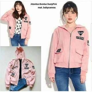 03 JAKET ATTENTION PINK 91.000 Bahan baby canvas tangan dan bawah rip asli fit to L tanpa hodie