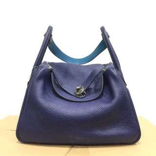 正品 95%新 Hermes Lindy 30 藍色併色手挽上膊袋