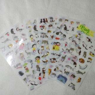 Korean little black cat sticker set