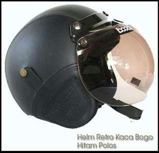 Helm retro bogo warna hitam polos
