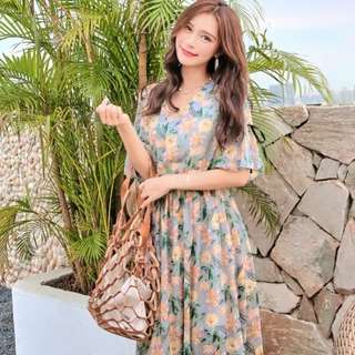 🌟2018 summer long art small fresh floral thin print chiffon dress🌟