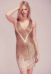 Free People x MLV Gold Sequins Prom Dress