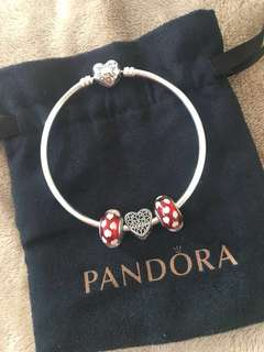 Pandora Bangle with 3 charms