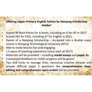Looking for Upper Primary English Tutees!