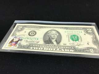 [5]特別版美國美金 2元連首日封郵票及印 LEFT