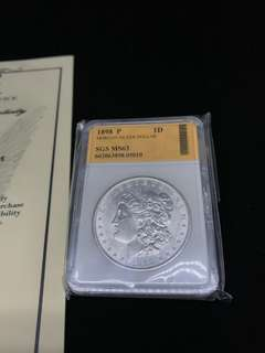 [12] SGS MS 63 1898年美國摩根 $1 DOLLARS SILVER COIN 銀幣 連證書