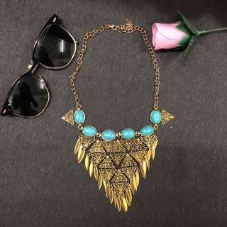 Necklace | Gold-Turquoise