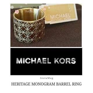 Michael Kors Rose Gold Heritage Monogram CZ Barrel Ring Size 8 玫瑰金鑲鑽斷碼戒指清貨平賣