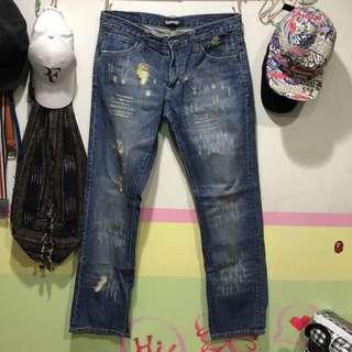 🚚 Subcrew react  香港潮牌 水洗破壞 丹寧牛仔褲 L號(W34)