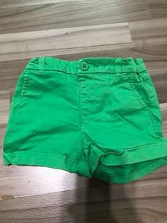 bn cotton on kids green elastic shorts for 2yo