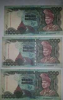 Duit Lama Note Rm1000