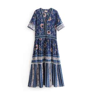 🚚 Foreign trade women's clothing blue positioning printing front row button dress