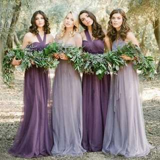 Purple and Lilac Bridesmaid Long Dresses