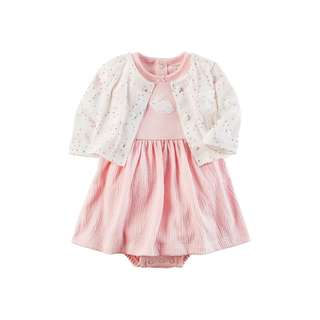 Carter's Bunny Dress & Heart Cardigan NB