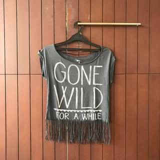 "Bershka ""Gone Wild For A While"" Grey Top"