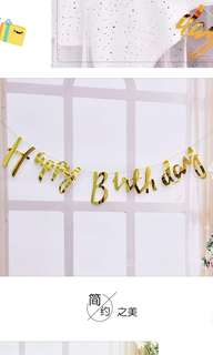 Party Garlands - Happy Birthday in Gold