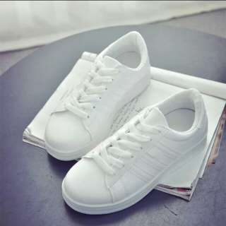 White Low Cut Leather Rubber Shoes