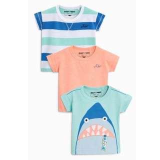 Mint/Pink Shark T-Shirt Three Pack