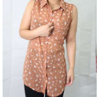 Forever 21 Button-up Sleeveless