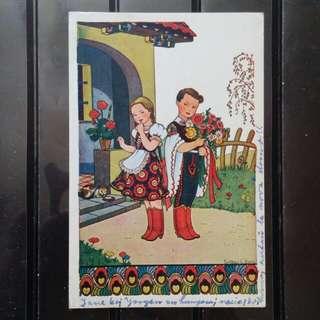 [lapyip1230] 匈牙利卡通明信片 1951年 民族服少年 彩色明信片