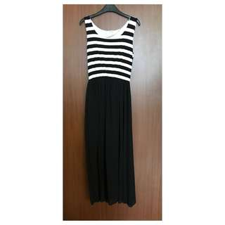 Taiwan Brand Black and White Stripes Maxi Dress