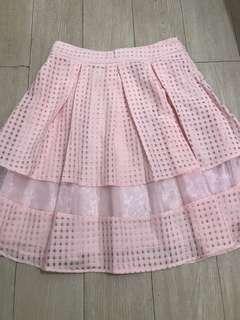 Flare Plaid Skirt by Esye (Pink Peach)