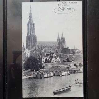 [lapyip1230] 德意志帝國 1911年 多瑙河伴的烏姆大教堂 黑白風景明信片