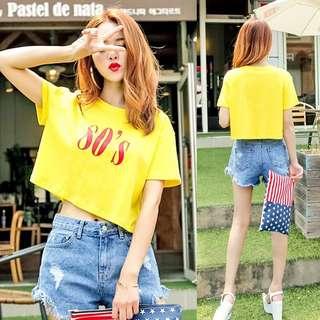 🚚 【貝莉潮流】性感短版㊙️ 韓版夏季時尚顯瘦性感高腰露肚短版印花短袖T恤