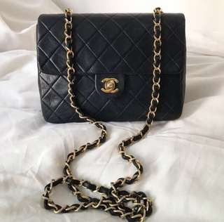 Chanel mini square vintage Bag 20cm 黑金羊皮