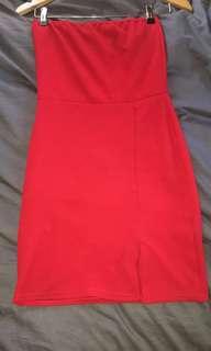 Red boobtube dress
