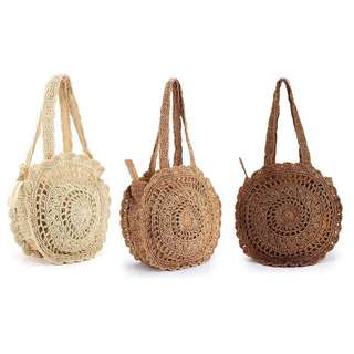 Summer beach straw round crochet  tote bag