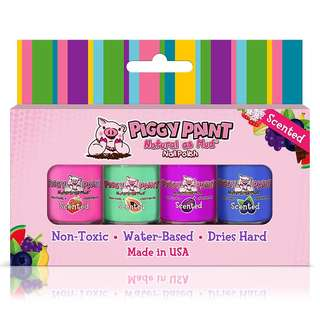 Piggy Paint 100% Non-toxic Girls Nail Polish, Safe, Chemical Free, Low Odor for Kids - 4 Polish Gift Set - Scented Fruit Fairy