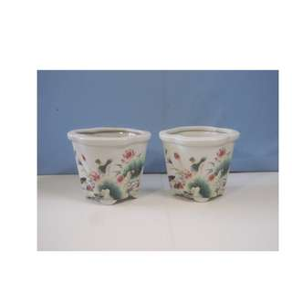 Antique rare porcelain flower bonsai pots pair hand painted circa 1940s
