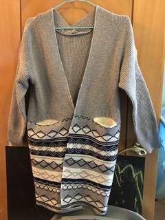 灰色花紋針織冷外套