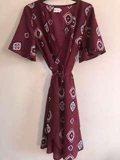 Burgundy short dress | Size 12